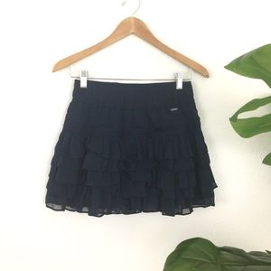 Hollister Navy Ruffle Mini Skirt